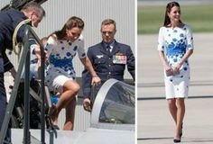 Kate Middleton Boards Fighter Jet in White-and-Blue Floral Dress