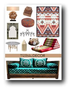 """Tribal Decor"" by ceci-alva ❤ liked on Polyvore featuring interior, interiors, interior design, home, home decor and interior decorating"