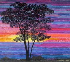 """Sunset Sentinel"" by Cathy Geier, Patchworks that Praise! landscape sunset tree art quilt.  First Place Ribbon in Landscapes at AQS Albuquerque 2015."