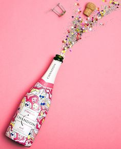 Limited Edition Carol Lim for Chandon bottles New Year Wallpaper, Iphone Wallpaper, Happy Birthday Wallpaper, Birthday Clipart, Moet Chandon, Handmade Jewelry Designs, Arte Pop, Nouvel An, Rose Design