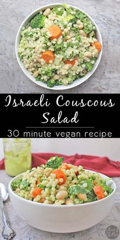 Israeli couscous salad with white beans and a mix of raw and lightly ...