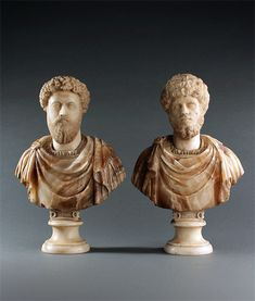 Pair of Grand Tour Busts Marcus Aurelius and Lucius Verus. Grand Tour, Buddha, Tours, Sculpture, Statue, Art, Art Background, Kunst, Sculptures
