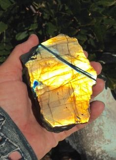 Amazing golden labradorite. Has one small spot of blue. Yourgreatfinds show 'n tell