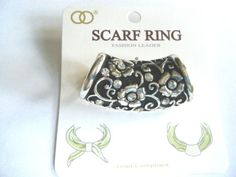 Silver Tone Scarf Ring Embossed Flowers Clear Stones New In Package