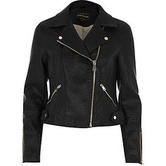 Black faux leather biker jacket £58.00