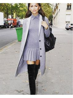 Prettiest Instagrams of the Week: Zendaya's gray collared mini dress with gray coat and thigh-high boots   allure.com