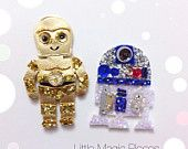 Limited - Star Wars Inspired C3PO and R2D2 Hair Clip Set, Character