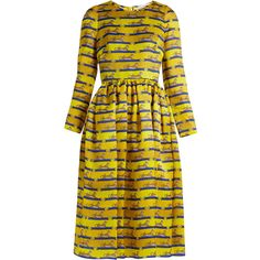 Mary Katrantzou Wilson striped cheetah-print silk dress ($1,635) ❤ liked on Polyvore featuring dresses, yellow multi, cheetah print dress, vintage cocktail dresses, animal print dresses, vintage silk dress and special occasion dresses