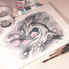 Cherry blossom 🌸 Used only two colors here - grey and pink. Decided to have some experience in making art with short color palette 🎨…