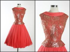 Vintage 1950s 50s Elegant PAT SANDLER Stunning Beaded Silk Cocktail Party Wedding Dress. $425.00, via Etsy.