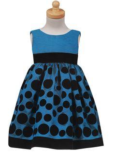Blue Flocked Polkadot Holiday Dress