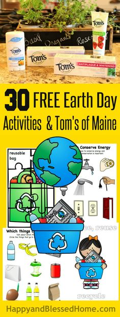30 Pages of Free Earth Day Activities for Kids with FREE Earth Day worksheets with puzzles, coloring, recycle sorting and FREE Coloring Book from Tom's of Maine from HappyandBlessedHome.com #NaturalGoodness #Ad #EarthDay #KidsActivities #Reduce #Reuse #Recycle