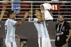 Di Maria celebrates his goal against Chile by paying tribute to his grandmother, who died before the match