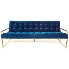 Groovy baby! The Jonathan Adler Goldfinger Apartment Sofa brings back 70's vibes with its Polished Brass frame and Navy Velvet upholstery. Its pitched seat and button-tufted cushions add a high level of comfort in addition to their stylish appearance. Place Goldfinger in your modern living room or bedroom for a uniquely chic look.