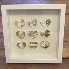 Laura Drayson Paper Arts, gold leaf, hand cut watercolour paper hearts, stitched and framed.