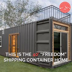 """This is the """"Freedom"""" shipping container home! Inside it features a full-size gourmet kitchen with a washer/dryer & full-size appliances, an industrial vibe with exposed lighting fixtures, a full bathroom with a beautiful tile shower, a small vanity wi Silo House, Tiny House Cabin, Tiny House Living, Tiny House Plans, Living Room, Living Walls, Tiny Houses, Home Depot Tiny House, Building A Container Home"""