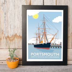 Portsmouth, HMS Warrior Print by Tabitha Mary  £16.00–£105.00  Capturing the HMS Warrior, built for the Royal Navy and now a popular tourist attraction and Wedding venue. Do you know a couple who were hitched here? Personalise this print just for them! Spot the spinnaker tower in the background too.  I am inspired by the old railway posters, my prints are now available as digital prints, signed Giclee prints both with an option of framing.