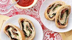 Recipe of the Day: Hand-held Pizza Pinwheels    Roll up store-bought dough with mozzarella, prosciutto and baby spinach for colorful pinwheels loaded with cheesy pizza goodness.