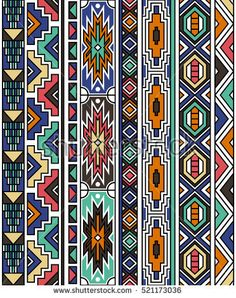 retro colors tribal vector seamless ndebele pattern. aztec abstract geometric art print. ethnic navajo vector background. Wallpaper, cloth design, fabric, paper, cover, textile template