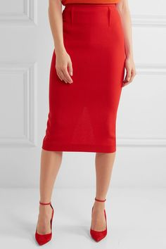 Roland Mouret - Arreton Wool-crepe Pencil Skirt - Red - UK16