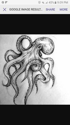 Octopus drawing Tattoos under the sea # tattooing # drawing # .-Desenho de polvo Tattoagem fundo do mar Tattoo octopus tattoo under the sea drawing # papelembranconaofazh … - Kraken Tattoo, Sea Tattoo, Ocean Tattoos, Body Art Tattoos, Sleeve Tattoos, Small Tattoos, Lotus Tattoo, Octopus Drawing, Octopus Tattoo Design