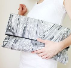 Extra large clutch (wood structure print, fold over style)