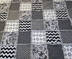 Rag Quilt  Black White 60 X 68 Flowers Hearts Dots by nanaswoolies