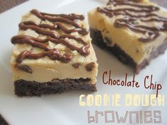 Chocolate Chip Cookie Dough Brownies - Life In The Lofthouse Cookie Desserts, Just Desserts, Delicious Desserts, Yummy Food, Tasty, Cookie Dough Brownies, Chocolate Chip Cookie Dough, Cookie Dough Pops, Cheesecake Brownies