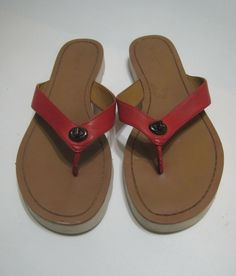 d03b6e97eec0 Coach Red Leather Thong Slide On Shelly Flip Flop Sandals Size 8.5 B   fashion