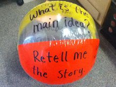DIFFERENTIATED INSTRUCTION!!!! The students split into three groups (based on their levels) and they toss the balls around their circle answering the questions. This way more students can answer at one time and they are more on their level. (It lists the things to write on the balls for below, at, and above level)