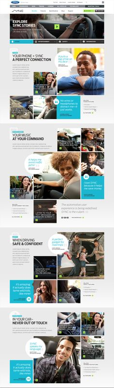 Ford SYNC Redesign  Excellent way of organizing quotes, photos, and videos in an engaging manner.