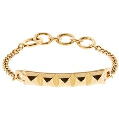 Diane Von Furstenberg Pyramid gold-plated bracelet ($34) ❤ liked on Polyvore featuring jewelry, bracelets, pyramid jewelry, geometric jewelry, diane von furstenberg, gold plated jewellery and gold plated jewelry