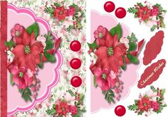 A lovely card with  beautiful poinsettias in a envelope card has 1 greeting tag and a blank one