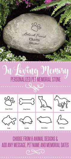 This personalized pet memorial stone is such a beautiful way to remember a pet who's passed away. You can choose a design for dogs, cats, horses, fish, turtles, hamsters, or a bunny and you can add any message or title, their name and memorial dates. Then you can place it in your garden or yard so you can always remember them.