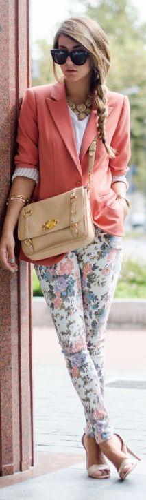pink blazer, side braid, floral pants, heels, shades, nude bag