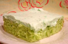 Pistachio Dream Cake:  I make this all the time!  Very light and refreshing.  Instead of using the yellow cake mix, I use a box of angel food cake mix.  Lighter on the calories too!  You won't feel so guilty!