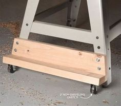 AW Extra - Two-Wheel Mobile Base - Popular Woodworking Magazine Learn Woodworking, Easy Woodworking Projects, Popular Woodworking, Woodworking Plans, Wood Projects, Woodworking Workshop, Woodworking Furniture, Woodworking Basics, Woodworking Techniques