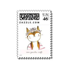 Dancing Darling Cat with Flower Wreath Illustration by Rive Gauche Craft. Sheet of 20 Stamps - $24