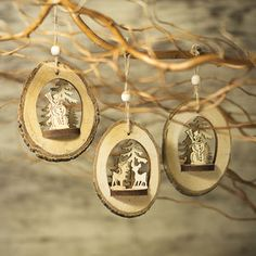 Log Christmas Tree Decorations