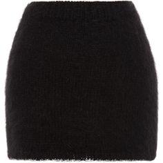 Rodarte Black Angora Mini Skirt ($920) ❤ liked on Polyvore featuring skirts, mini skirts, black, bottoms, short skirts, rodarte, mini skirt, short mini skirts and pull on skirts