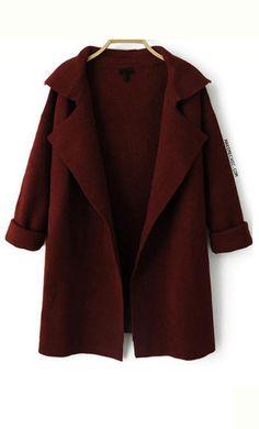 Burgundy Long Sleeve Lapel Knit Cardigans