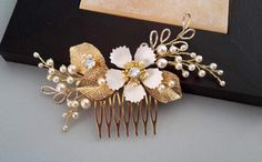 Pearl Comb  Gold pearl comb Freshwater pearl comb by ZTetyana