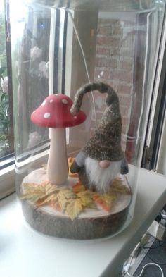 Kabouter en paddestoel bij wibra gekocht. Leuk onder grote omgekeerd vaas Bird Feeders, Craft Ideas, Outdoor Decor, Christmas, Crafts, Home Decor, Xmas, Manualidades, Decoration Home