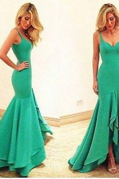 Simple green mermaid long prom dress, unique evening dress, modest prom dress long