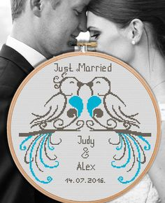 Wedding cross stitch pattern Just married announcement Birds
