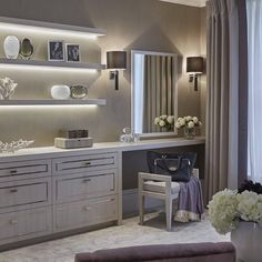 If we don't pull wardrobe wall into bedroom we can use the other side of it facing master bed to install dressing table and beautiful base units/slimline wardrobes for spillover clothing - see other pin with mirror door finish
