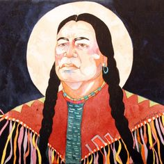 Original Western Art Watercolor This native man's face tells of wisdom and sorrow, the moon rising behind him tells of his inner strength. luckystargallery.com $345