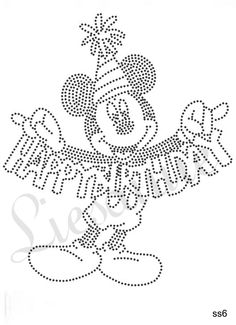 Micky Mouse happy birthday Rhinestone Crafts, Rhinestone Transfers, Nail String Art, Embroidery Cards, Pvc Projects, Cross Stitch Cards, Needlepoint Stitches, Mini, Paper Art