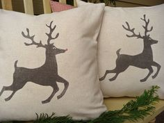 """Reindeer Pillow Cover - Christmas Pillow Cover - Plain Nose or Rudolph the Red Nosed Reindeer - 16"""". $22.00, via Etsy."""