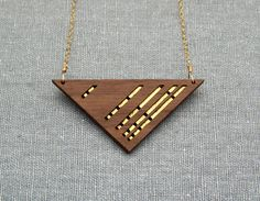 Luxe Layered Triangular Walnut Wood Necklace with Gold Accents on Gold Filled Chain.